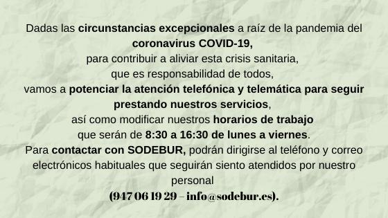 Sodebur aviso COVID-19